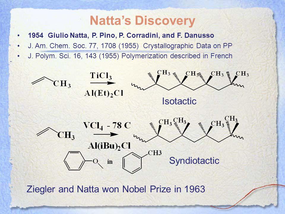 Nattas Discovery 1954 Giulio Natta, P. Pino, P. Corradini, and F. Danusso J. Am. Chem. Soc. 77, 1708 (1955) Crystallographic Data on PP J. Polym. Sci.