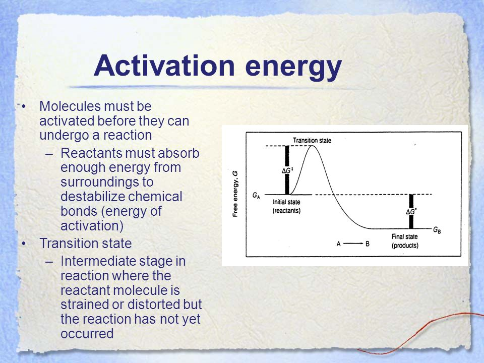 Activation energy Molecules must be activated before they can undergo a reaction –Reactants must absorb enough energy from surroundings to destabilize