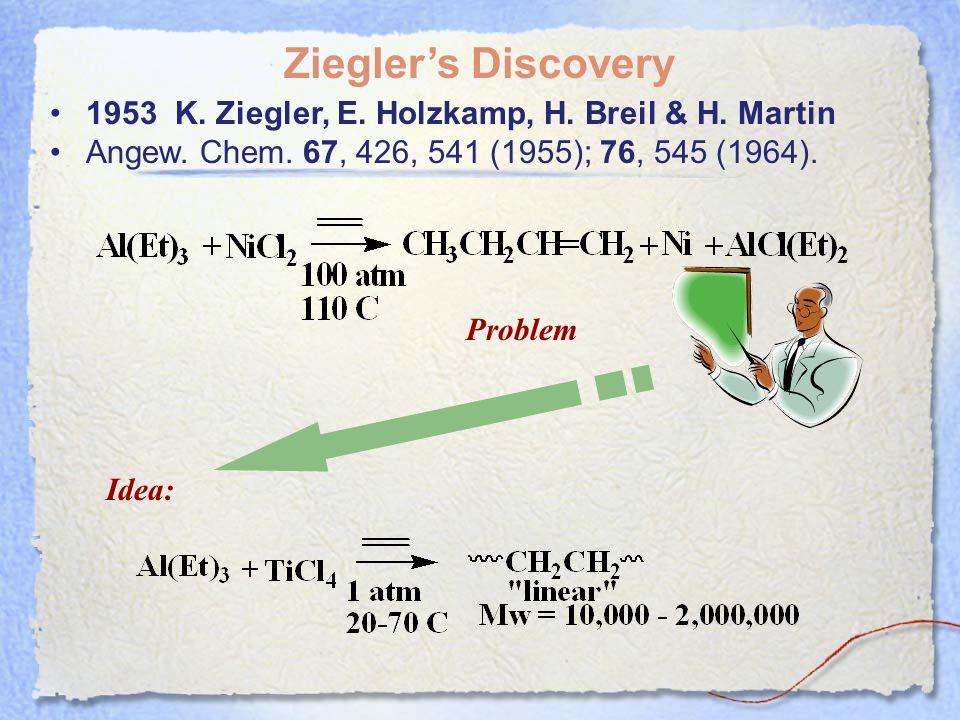 Zieglers Discovery 1953 K. Ziegler, E. Holzkamp, H. Breil & H. Martin Angew. Chem. 67, 426, 541 (1955); 76, 545 (1964). Problem Idea: