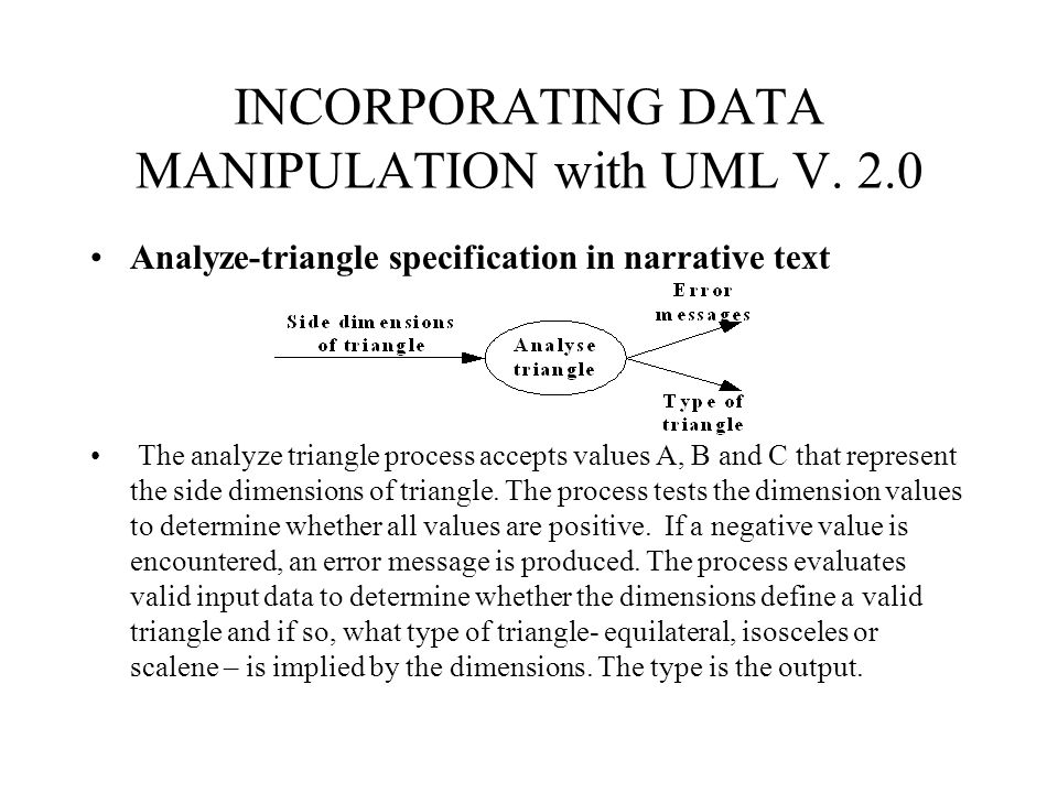 INCORPORATING DATA MANIPULATION with UML V. 2.0 Analyze-triangle specification in narrative text The analyze triangle process accepts values A, B and