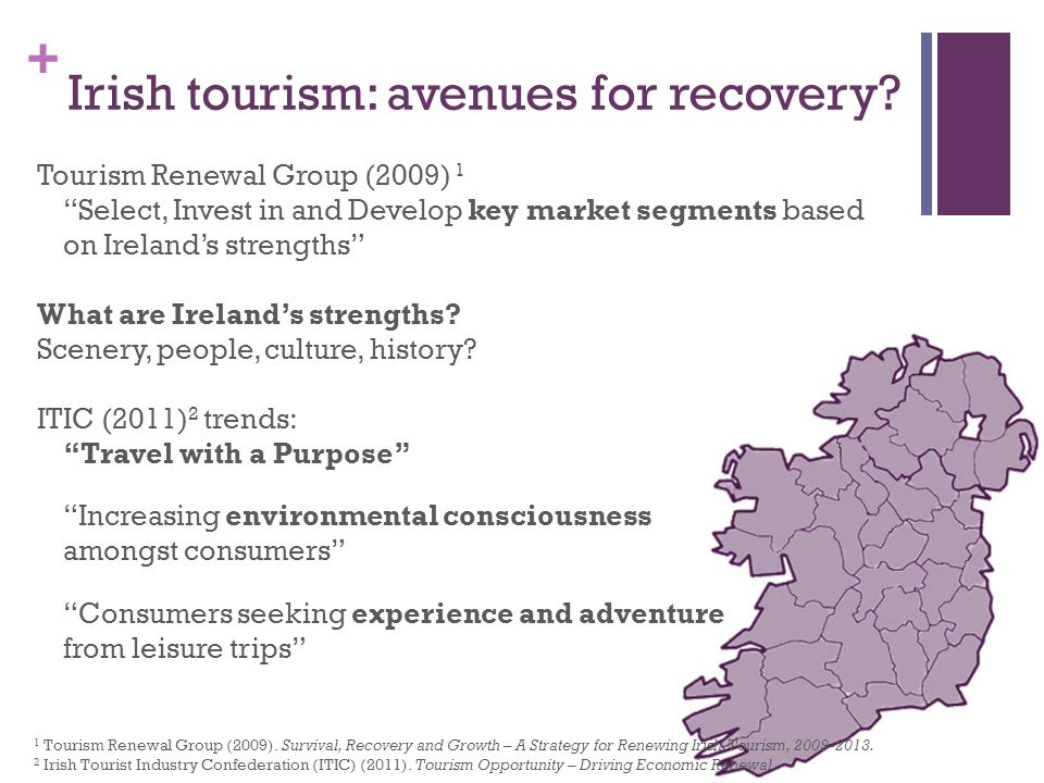 + Irish tourism: avenues for recovery.