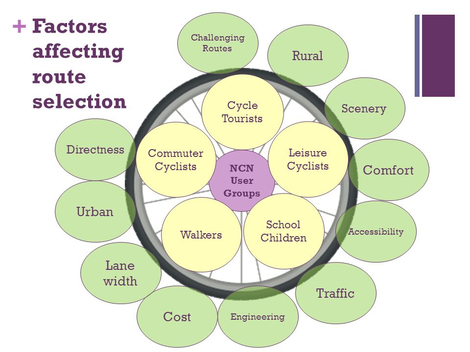 + Factors affecting route selection NCN User Groups Walkers School Children Directness Accessibility Scenery Comfort Challenging Routes Urban Rural Co