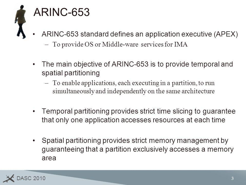 DASC 2010 4 ARINC-653 Health Management (1/2) An important feature in ARINC-653 is indisputably its health monitor (HM) –It has the responsibility to detect and provide recovery mechanisms for hardware and software failures –It has the objective of containing and isolating faults before they propagate across the whole system.