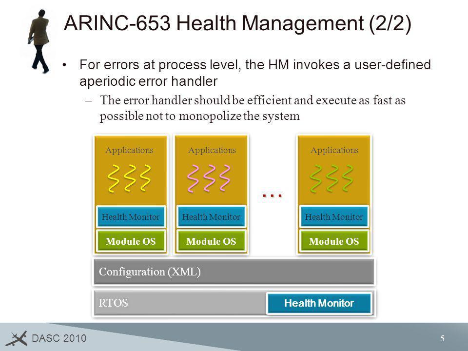 DASC 2010 5 ARINC-653 Health Management (2/2) For errors at process level, the HM invokes a user-defined aperiodic error handler –The error handler sh