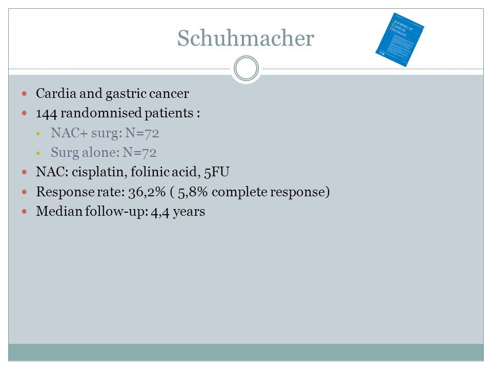 Schuhmacher Cardia and gastric cancer 144 randomnised patients : NAC+ surg: N=72 Surg alone: N=72 NAC: cisplatin, folinic acid, 5FU Response rate: 36,