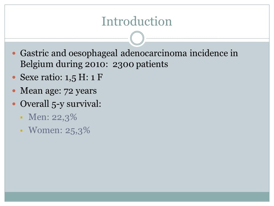 Introduction Gastric and oesophageal adenocarcinoma incidence in Belgium during 2010: 2300 patients Sexe ratio: 1,5 H: 1 F Mean age: 72 years Overall