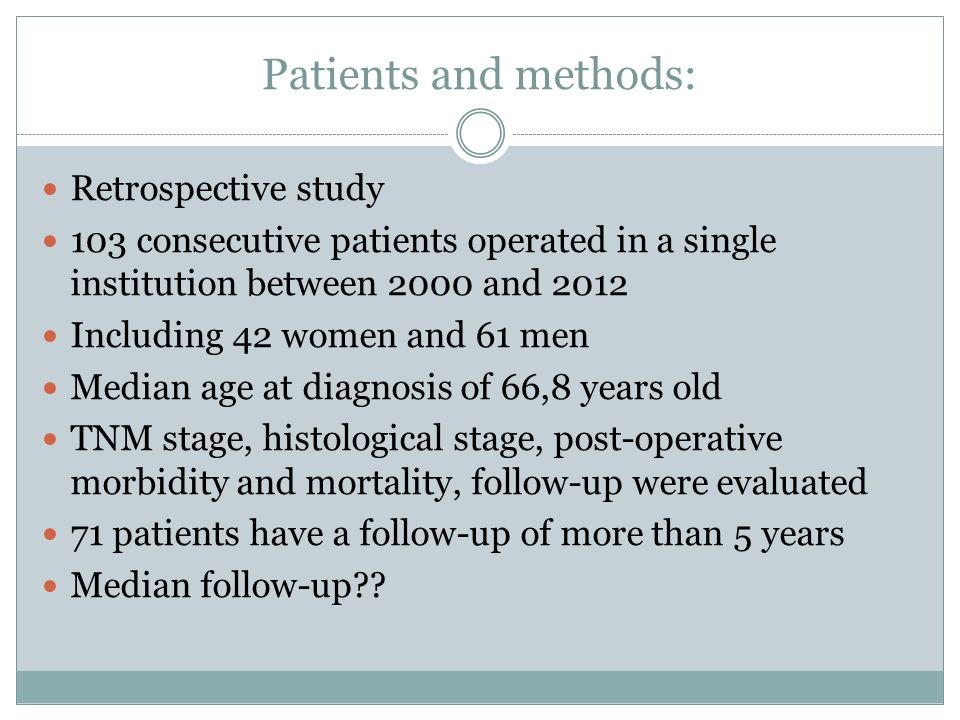 Patients and methods: Retrospective study 103 consecutive patients operated in a single institution between 2000 and 2012 Including 42 women and 61 me