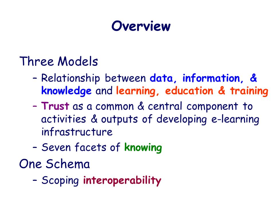 Three Models –Relationship between data, information, & knowledge and learning, education & training –Trust as a common & central component to activities & outputs of developing e-learning infrastructure –Seven facets of knowing One Schema –Scoping interoperability Overview