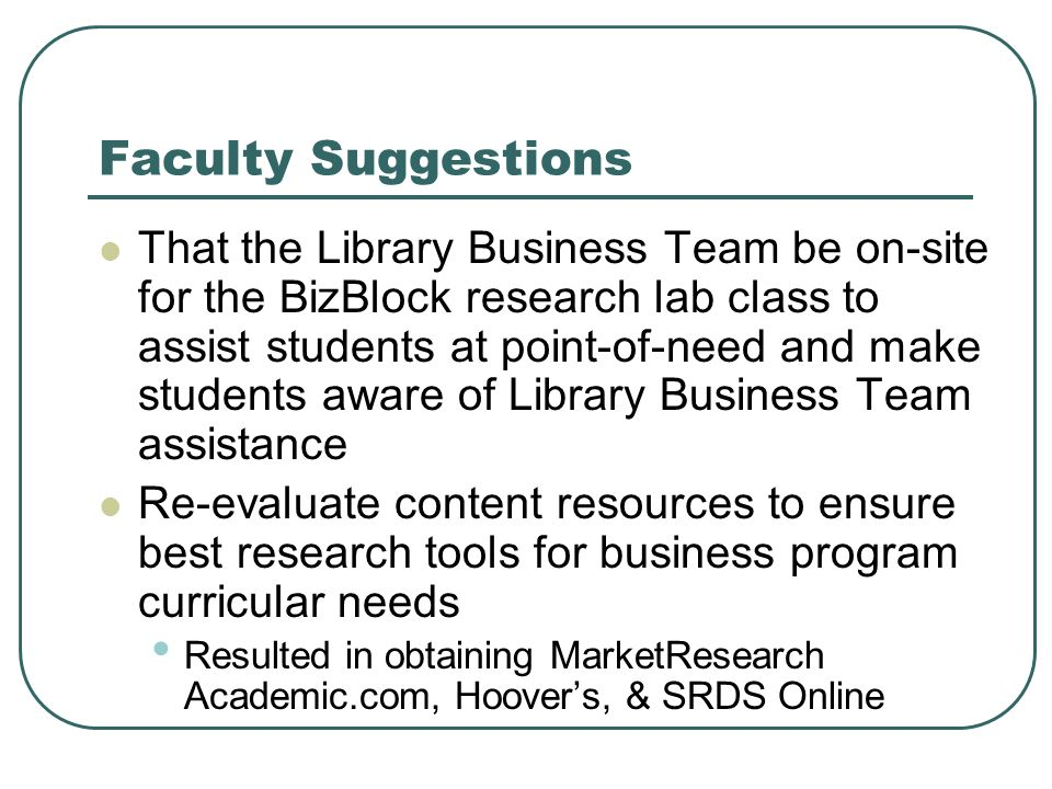 Faculty Suggestions That the Library Business Team be on-site for the BizBlock research lab class to assist students at point-of-need and make students aware of Library Business Team assistance Re-evaluate content resources to ensure best research tools for business program curricular needs Resulted in obtaining MarketResearch Academic.com, Hoovers, & SRDS Online