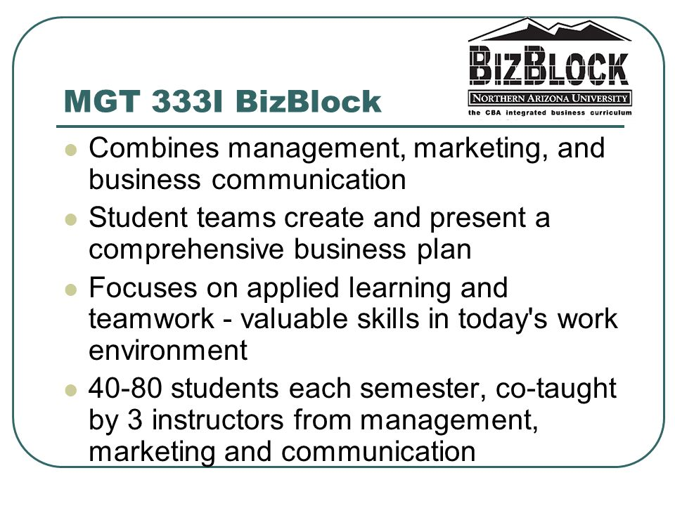 MGT 333I BizBlock Combines management, marketing, and business communication Student teams create and present a comprehensive business plan Focuses on applied learning and teamwork - valuable skills in today s work environment students each semester, co-taught by 3 instructors from management, marketing and communication