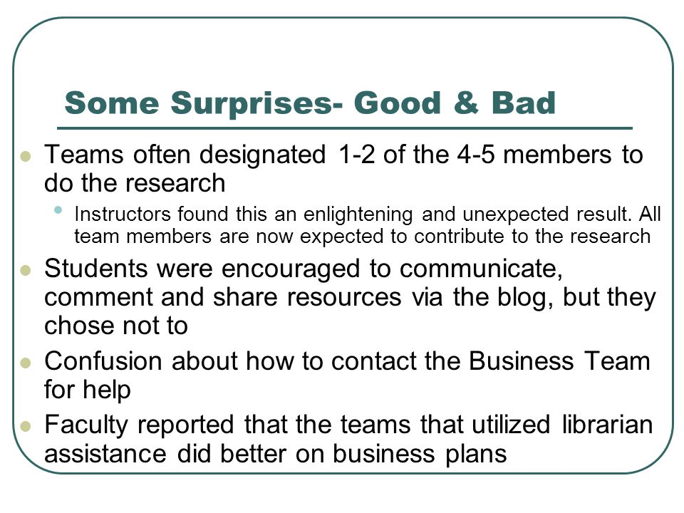 Some Surprises- Good & Bad Teams often designated 1-2 of the 4-5 members to do the research Instructors found this an enlightening and unexpected result.