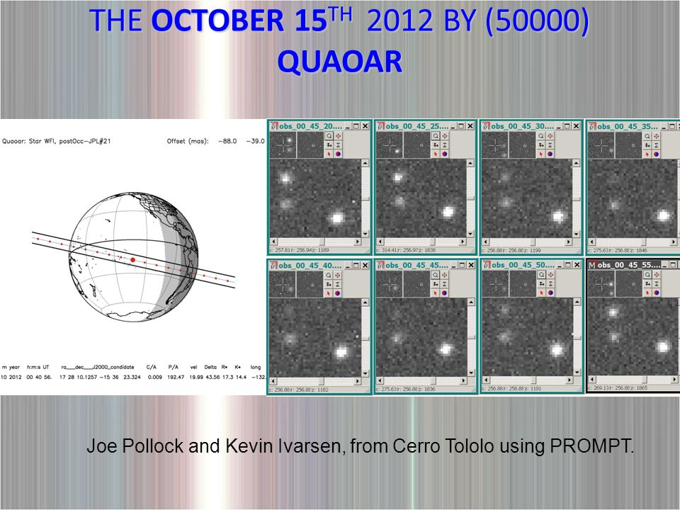 THE OCTOBER 15 TH 2012 BY (50000) QUAOAR Joe Pollock and Kevin Ivarsen, from Cerro Tololo using PROMPT.