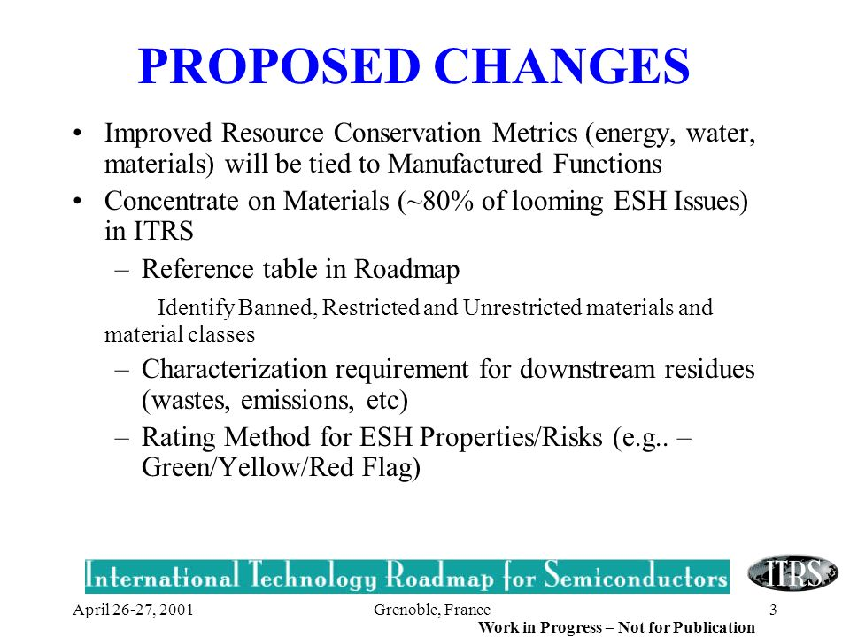 Grenoble, France3 Work in Progress – Not for Publication April 26-27, 2001 PROPOSED CHANGES Improved Resource Conservation Metrics (energy, water, mat