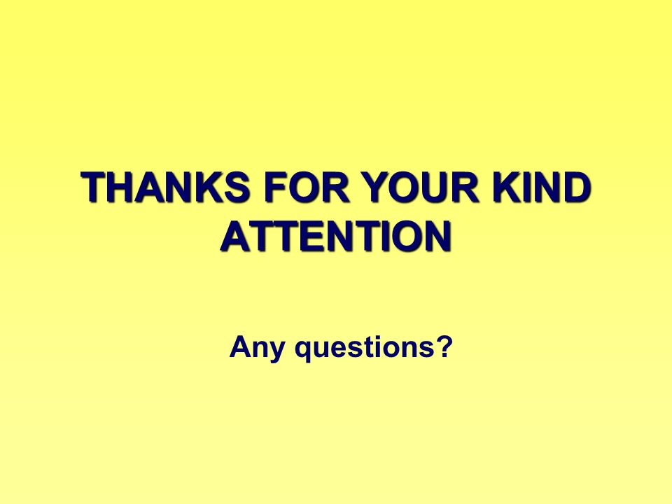 THANKS FOR YOUR KIND ATTENTION Any questions?