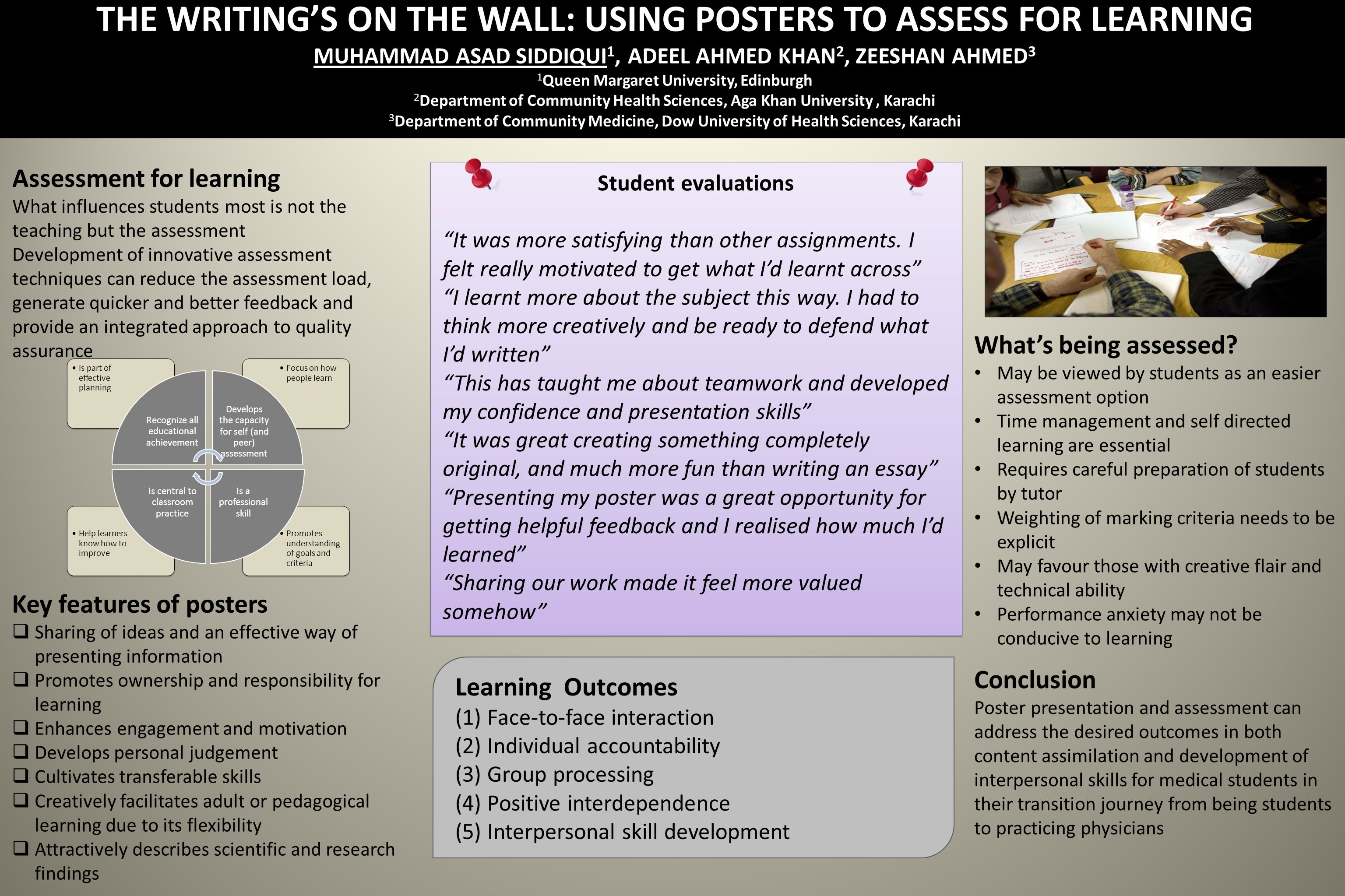THE WRITINGS ON THE WALL: USING POSTERS TO ASSESS FOR LEARNING MUHAMMAD ASAD SIDDIQUI 1, ADEEL AHMED KHAN 2, ZEESHAN AHMED 3 1 Queen Margaret University, Edinburgh 2 Department of Community Health Sciences, Aga Khan University, Karachi 3 Department of Community Medicine, Dow University of Health Sciences, Karachi Assessment for learning What influences students most is not the teaching but the assessment Development of innovative assessment techniques can reduce the assessment load, generate quicker and better feedback and provide an integrated approach to quality assurance Key features of posters Sharing of ideas and an effective way of presenting information Promotes ownership and responsibility for learning Enhances engagement and motivation Develops personal judgement Cultivates transferable skills Creatively facilitates adult or pedagogical learning due to its flexibility Attractively describes scientific and research findings Whats being assessed.