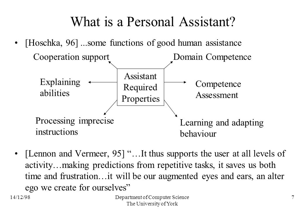 14/12/98Department of Computer Science The University of York 7 What is a Personal Assistant.