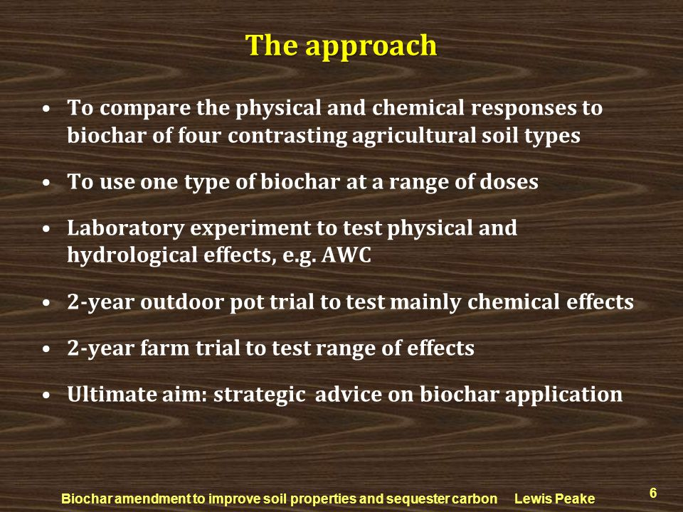 To compare the physical and chemical responses to biochar of four contrasting agricultural soil types To use one type of biochar at a range of doses L