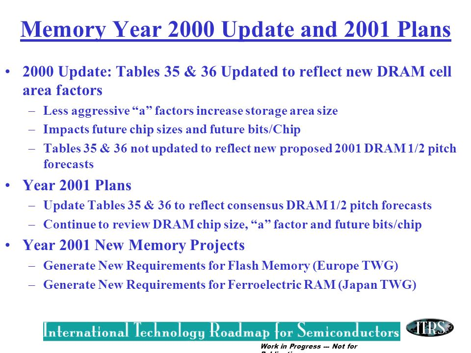 Work in Progress --- Not for Publication Memory Year 2000 Update and 2001 Plans 2000 Update: Tables 35 & 36 Updated to reflect new DRAM cell area fact
