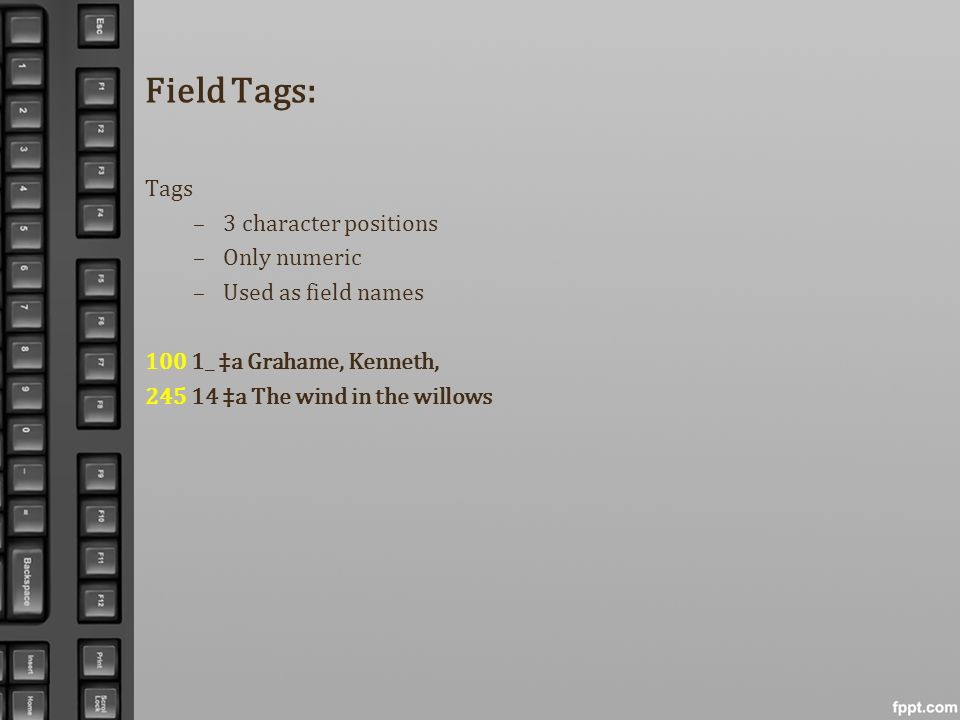 Field Tags: Tags –3 character positions –Only numeric –Used as field names 100 1_ a Grahame, Kenneth, 245 14 a The wind in the willows