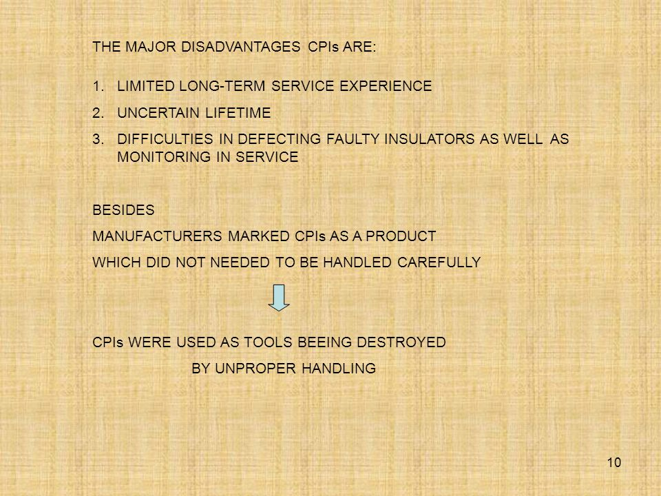 10 THE MAJOR DISADVANTAGES CPIs ARE: 1.LIMITED LONG-TERM SERVICE EXPERIENCE 2.UNCERTAIN LIFETIME 3.DIFFICULTIES IN DEFECTING FAULTY INSULATORS AS WELL