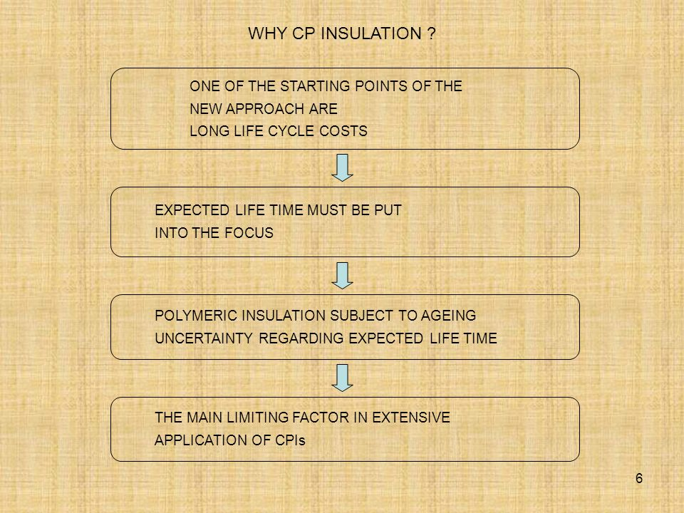 6 ONE OF THE STARTING POINTS OF THE NEW APPROACH ARE LONG LIFE CYCLE COSTS EXPECTED LIFE TIME MUST BE PUT INTO THE FOCUS POLYMERIC INSULATION SUBJECT TO AGEING UNCERTAINTY REGARDING EXPECTED LIFE TIME WHY CP INSULATION .