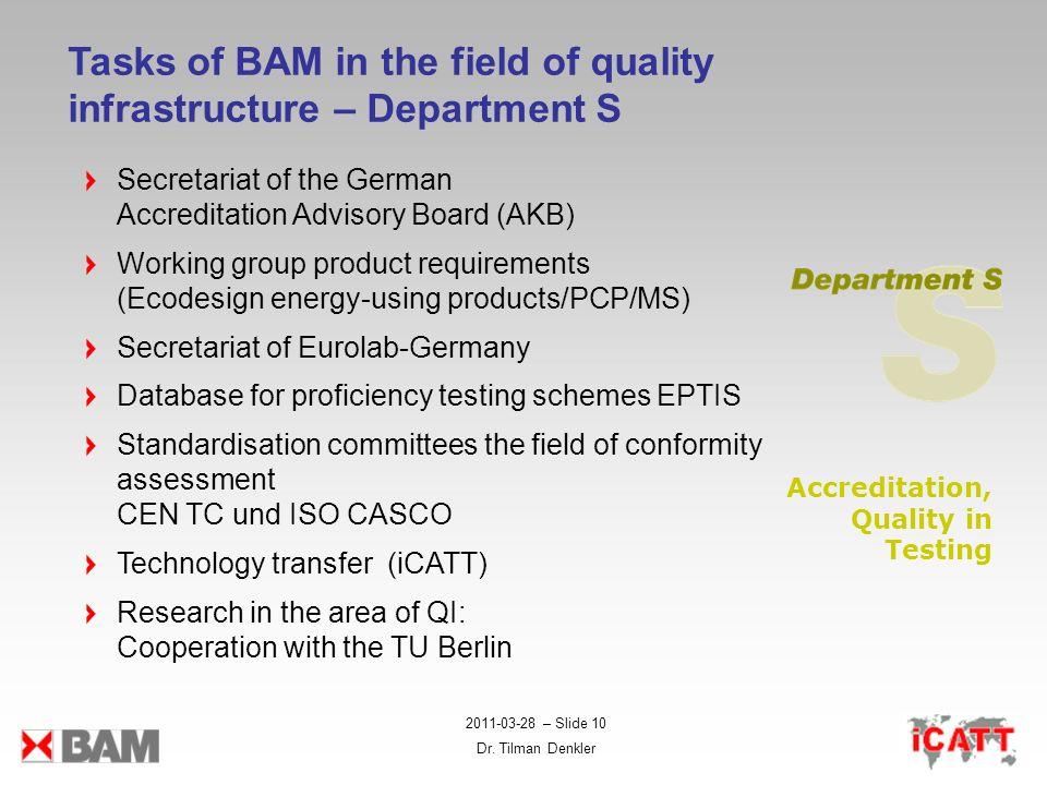2011-03-28 – Slide 10 Dr. Tilman Denkler Tasks of BAM in the field of quality infrastructure – Department S Secretariat of the German Accreditation Ad