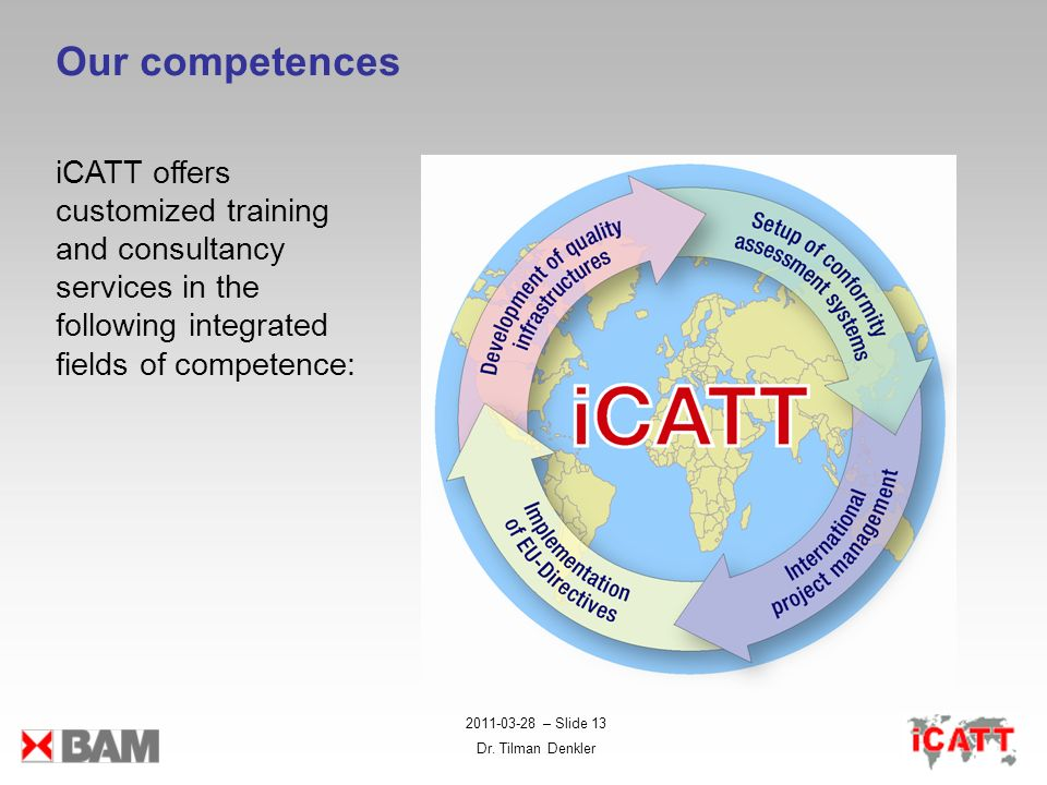 2011-03-28 – Slide 13 Dr. Tilman Denkler Our competences iCATT offers customized training and consultancy services in the following integrated fields