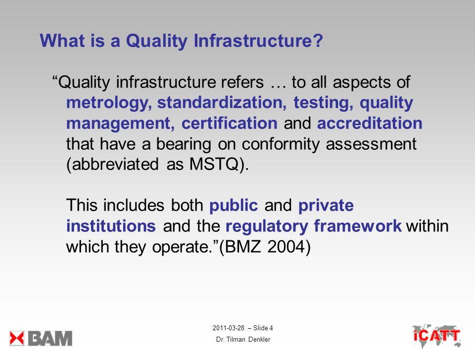 2011-03-28 – Slide 4 Dr. Tilman Denkler What is a Quality Infrastructure? Quality infrastructure refers … to all aspects of metrology, standardization