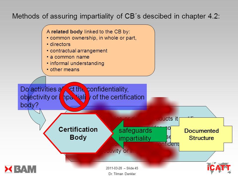2011-03-28 – Slide 45 Dr. Tilman Denkler Methods of assuring impartiality of CB´s descibed in chapter 4.2: Zertifizierungs- stelle - Supplies or desig