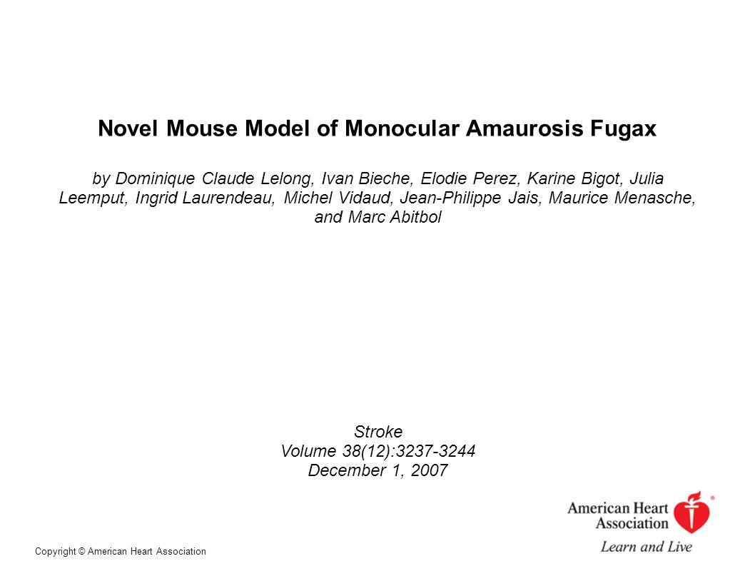 Novel Mouse Model of Monocular Amaurosis Fugax by Dominique Claude Lelong, Ivan Bieche, Elodie Perez, Karine Bigot, Julia Leemput, Ingrid Laurendeau,
