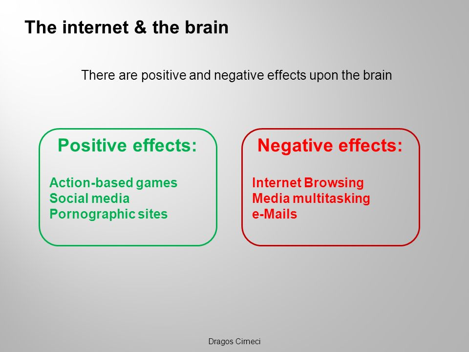 The internet & the brain There are positive and negative effects upon the brain Dragos Cirneci Negative effects: Internet Browsing Media multitasking