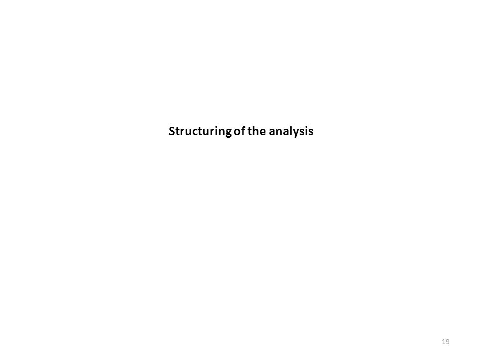 Structuring of the analysis 19
