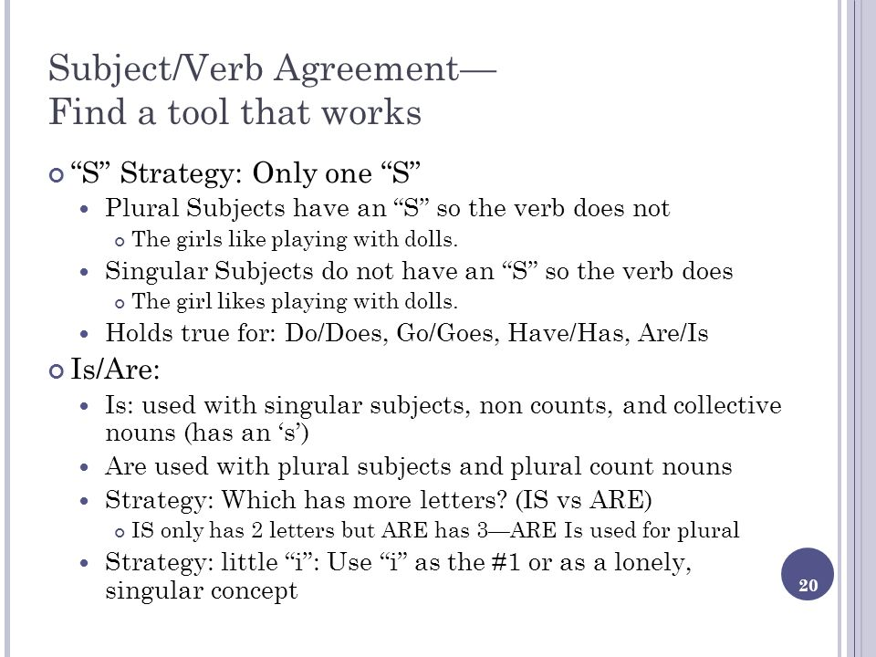 20 Subject/Verb Agreement Find a tool that works S Strategy: Only one S Plural Subjects have an S so the verb does not The girls like playing with dol