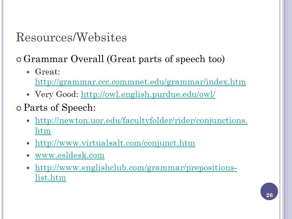 26 Resources/Websites Grammar Overall (Great parts of speech too) Great: http://grammar.ccc.commnet.edu/grammar/index.htm http://grammar.ccc.commnet.e