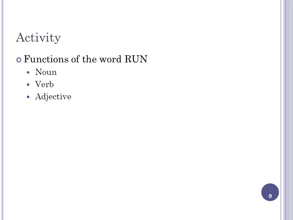 9 Activity Functions of the word RUN Noun Verb Adjective