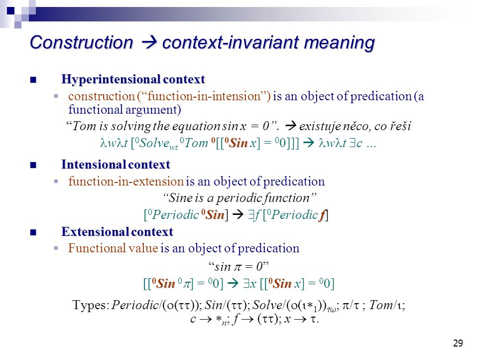 29 Construction context-invariant meaning Hyperintensional context Hyperintensional context construction (function-in-intension) is an object of predication (a functional argument) Tom is solving the equation sin x = 0.
