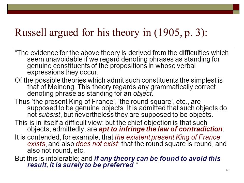 40 Russell argued for his theory in (1905, p.