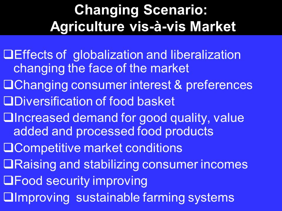Changing Scenario: Agriculture vis-à-vis Market Effects of globalization and liberalization changing the face of the market Changing consumer interest