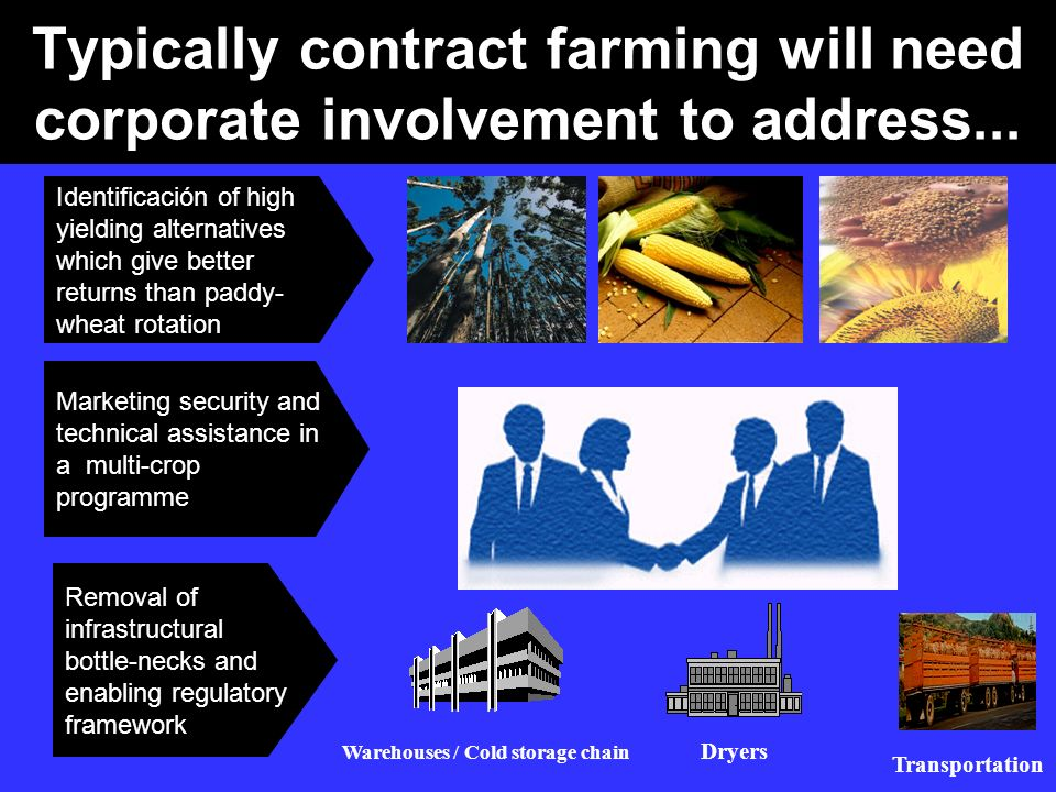 Typically contract farming will need corporate involvement to address... Identificación of high yielding alternatives which give better returns than p