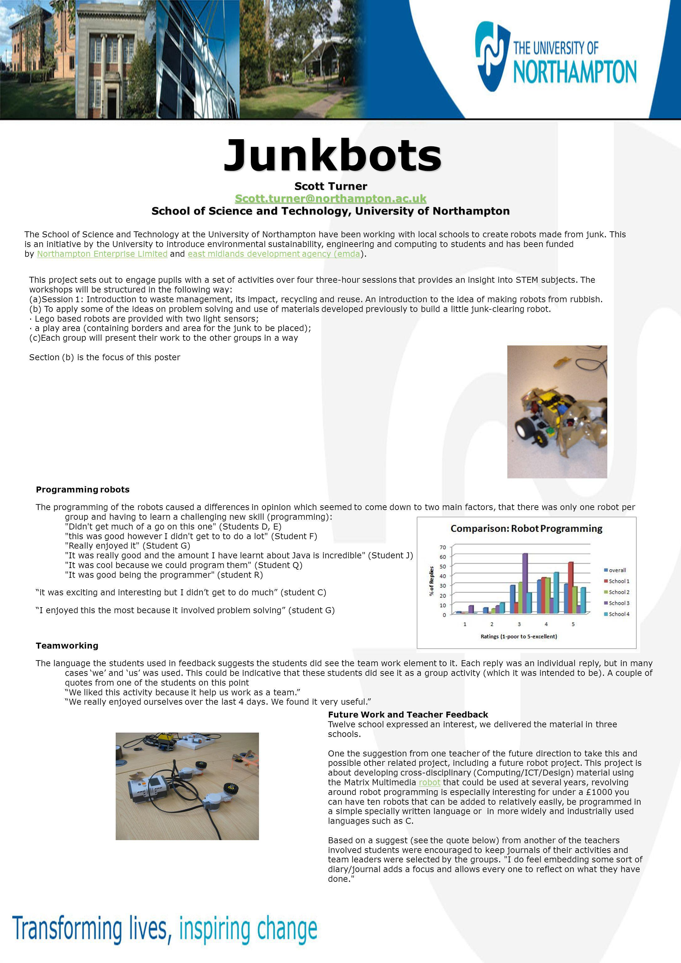 Junkbots Junkbots Scott Turner Scott.turner@northampton.ac.uk School of Science and Technology, University of Northampton The School of Science and Technology at the University of Northampton have been working with local schools to create robots made from junk.