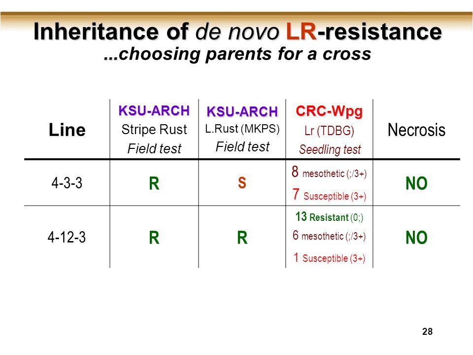 28 Inheritance of de novo LR-resistance Inheritance of de novo LR-resistance LineKSU-ARCH Stripe Rust Field testKSU-ARCH L.Rust (MKPS) Field testCRC-Wpg Lr (TDBG) Seedling test Necrosis 4-3-3 R S 8 mesothetic (;/3+) 7 Susceptible (3+) NO 4-12-3 RR 13 Resistant (0;) 6 mesothetic (;/3+) 1 Susceptible (3+) NO......choosing parents for a cross