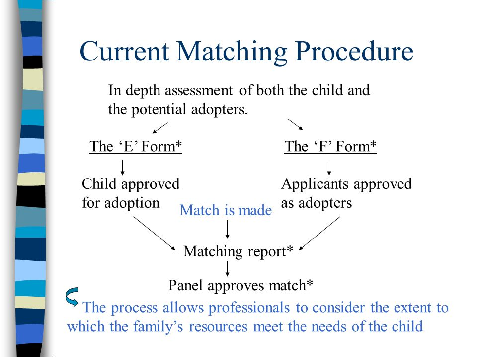 The process allows professionals to consider the extent to which the familys resources meet the needs of the child In depth assessment of both the chi