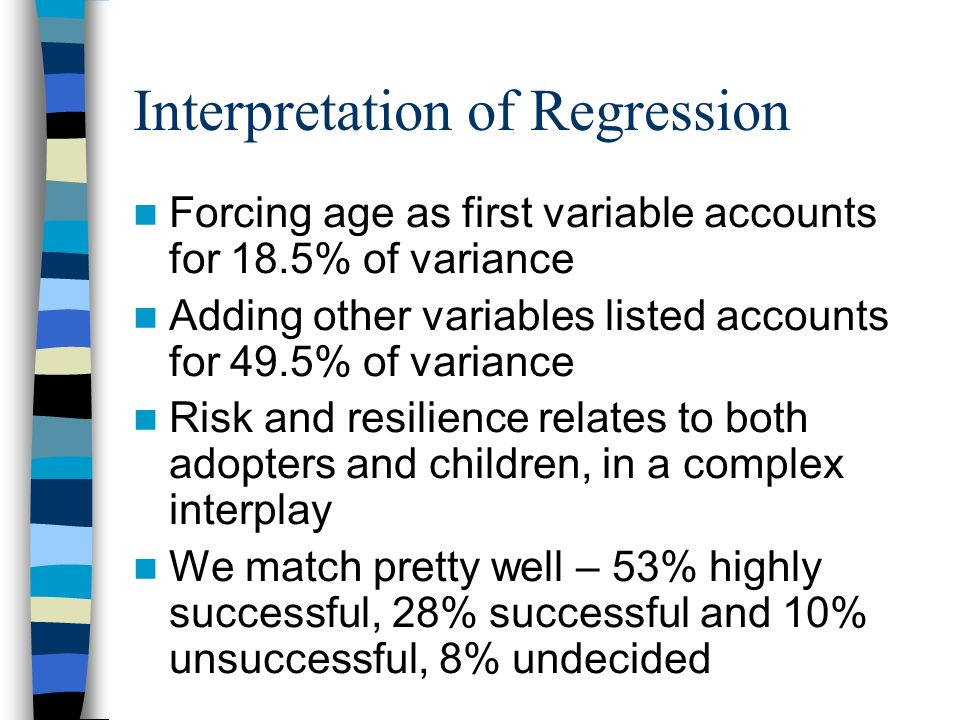 Interpretation of Regression Forcing age as first variable accounts for 18.5% of variance Adding other variables listed accounts for 49.5% of variance