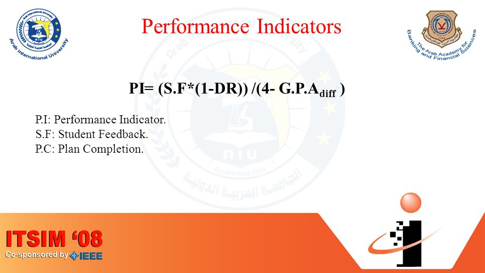 Performance Indicators PI= (S.F*(1-DR)) /(4- G.P.A diff ) P.I: Performance Indicator.