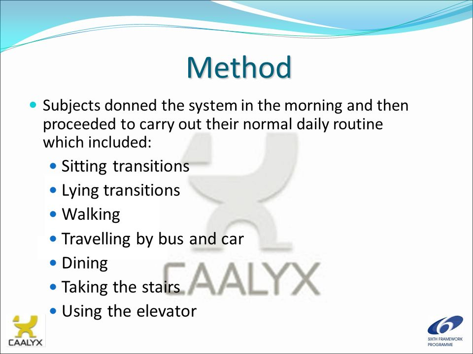 Method Subjects donned the system in the morning and then proceeded to carry out their normal daily routine which included: Sitting transitions Lying