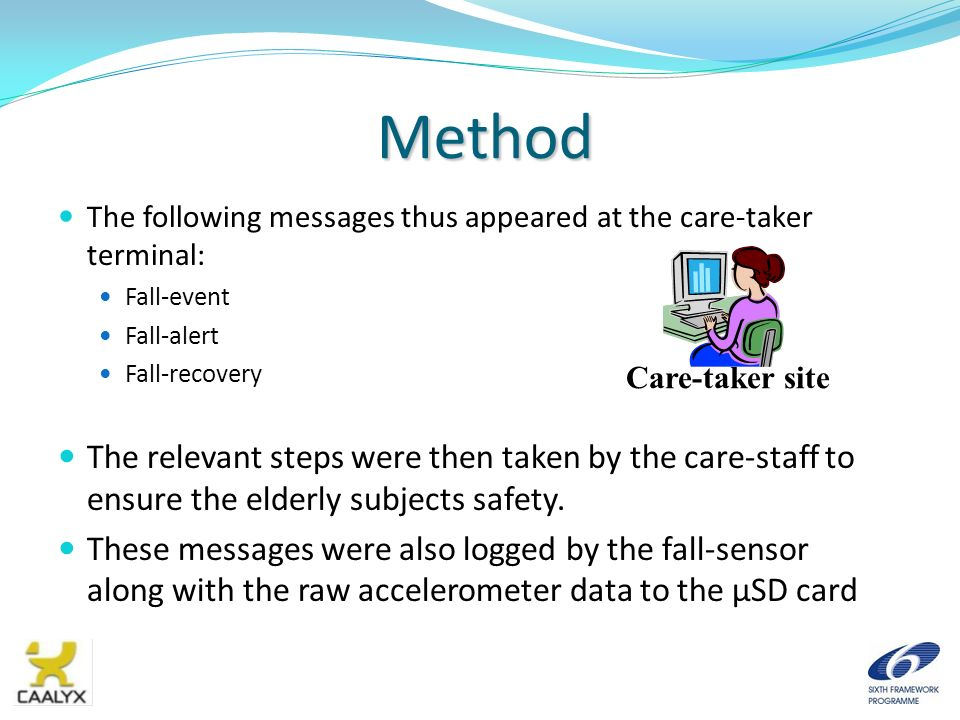 Method The following messages thus appeared at the care-taker terminal: Fall-event Fall-alert Fall-recovery The relevant steps were then taken by the