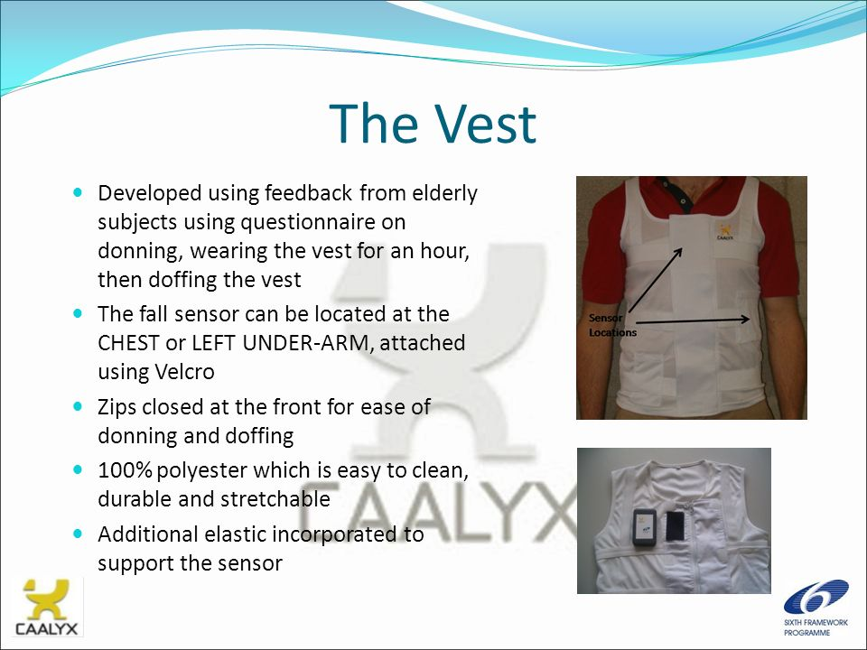 The Vest Developed using feedback from elderly subjects using questionnaire on donning, wearing the vest for an hour, then doffing the vest The fall s