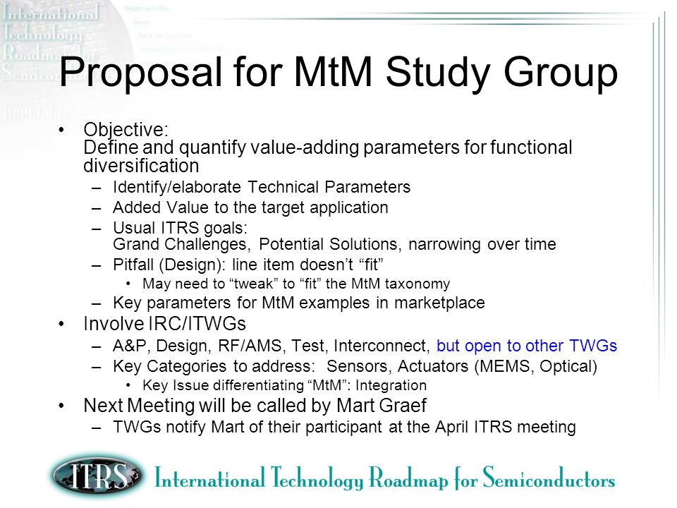 MtM WG Basic Questions What are the key parameters.