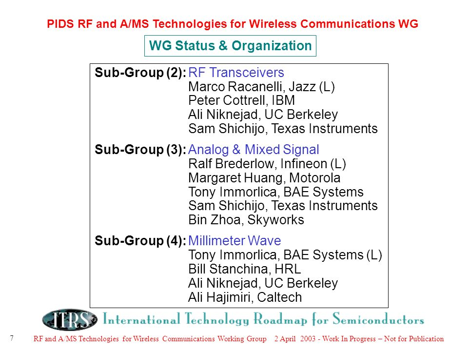 RF and A/MS Technologies for Wireless Communications Working Group 2 April Work In Progress – Not for Publication 7 PIDS RF and A/MS Technologies for Wireless Communications WG Sub-Group (2):RF Transceivers Marco Racanelli, Jazz (L) Peter Cottrell, IBM Ali Niknejad, UC Berkeley Sam Shichijo, Texas Instruments Sub-Group (3):Analog & Mixed Signal Ralf Brederlow, Infineon (L) Margaret Huang, Motorola Tony Immorlica, BAE Systems Sam Shichijo, Texas Instruments Bin Zhoa, Skyworks Sub-Group (4):Millimeter Wave Tony Immorlica, BAE Systems (L) Bill Stanchina, HRL Ali Niknejad, UC Berkeley Ali Hajimiri, Caltech WG Status & Organization