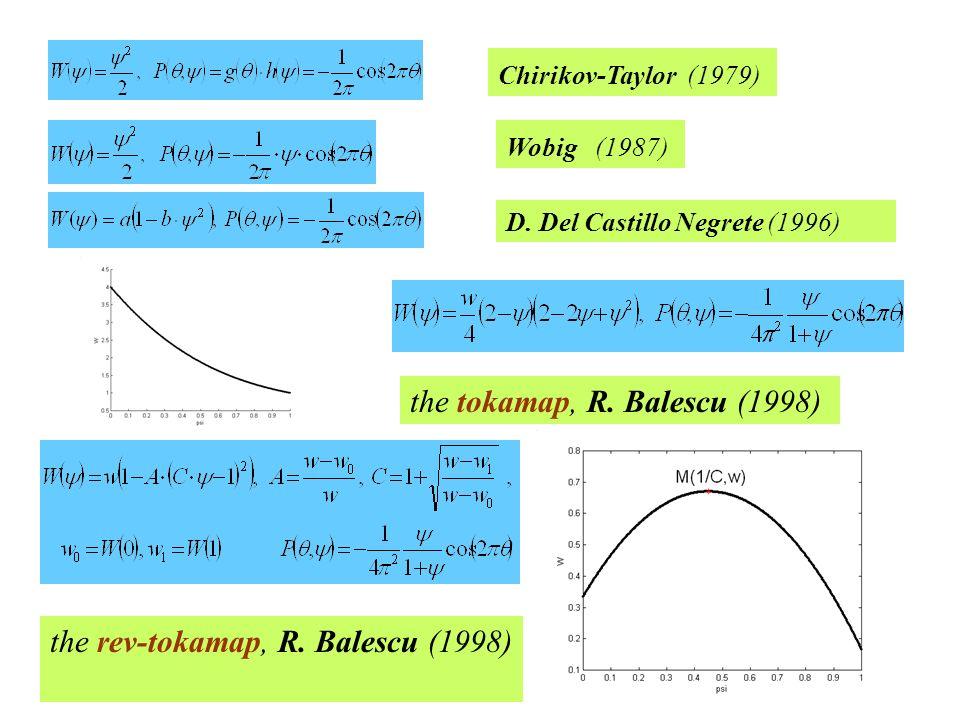 Chirikov-Taylor (1979) Wobig (1987) the tokamap, R. Balescu (1998) the rev-tokamap, R. Balescu (1998) D. Del Castillo Negrete (1996)